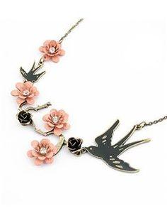 Pink Flower Alloy Vintage Necklace