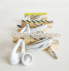Use clothespins to keep your cords in place.