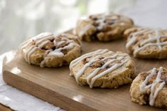 ***Cinnamon Bun Scones ~ is perfect for cinnamon bun lovers. Our recipe combines two classics - cinnamon buns and flaky, buttery scones. Finish these Cinnamon Bun Scones with a frosting of cream cheese for a match made in heaven. Oatmeal Cookie Recipes, Oatmeal Cookies, Cinnamon Scones, Cinnamon Rolls, Cookie Glaze, Dessert Recipes, Desserts, Kraft Recipes, Breakfast Recipes