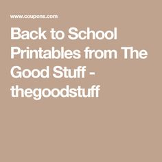 Back to School Printables from The Good Stuff - thegoodstuff