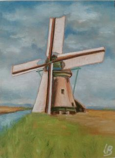 One of the windmills Kinderdijk. Small oil painting By artist Leanne Buskermolen. For sale, dm for details. Windmill Art, Dutch Windmill, Abstract Landscape, Holland, Sketches, Oil, Lighthouses, Drawings, Minecraft