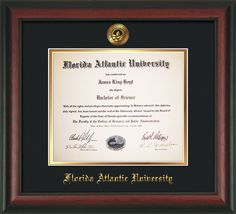 Florida Atlantic U Diploma Frame-Rosewood-w/FAUSeal-Black on Gold – Professional Framing Company