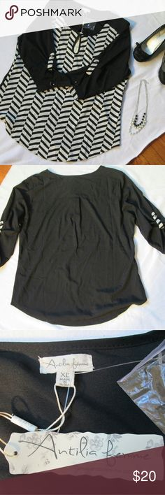 Antilia Femme Black and White Blouse Sz XL Antilia Femme Black and White Blouse Sz XL. Very cute blouse Nwt. Antilia Femme Tops Blouses