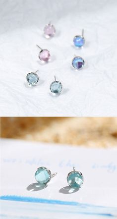 6e2c969c6 Sweet Tear Water Droplets Crystal Silver Women Earrings Studs #earrings # crystal #studs #