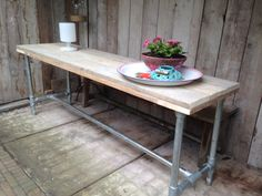 Steigerhout tafel met steigerbuizen onderstel #woodworking #verborgwoodworking #table #wood #barnwood