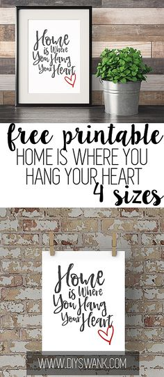 FREE Printable-Home is where you hang your heart sign. Gallery wall art printable. 4 sizes to choose from.