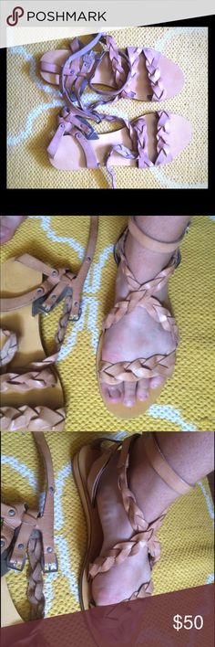 Anthropologie Gladiator sandals Light brown, cream color. Real leather. Barley worn, just too big for me. Perfect for a bohemian vibe outfit or any outfit at all! Anthropologie Shoes Sandals