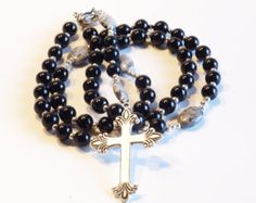 Check out BLACK Handcrafted Catholic Saints Rosary Necklace Beaded Chain on dunglebees