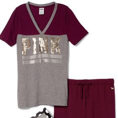 Large PINK BLING V-Neck tee & Boyfriend Pants Set NWT in online package and gift box PINK Victoria's Secret Tops