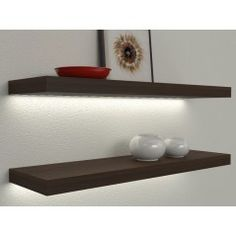 Veca Italy sells online illuminated shelves for the home. Led Shelves with electrical transformer or rechargeable battery, wooden lighted shelves Floating Shelves With Lights, Wall Installation, Black Floating Shelves, Shelves Around Tv, Modern House Design, Shelves, Led, Home Furniture, Melamine Wood