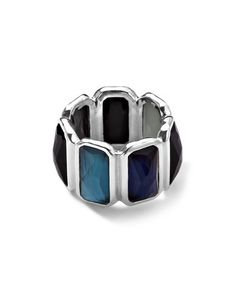 Y291U Ippolita Wonderland Quartz & Mother-of-Pearl/Pyrite Brick Ring