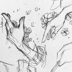 Flower Drawing More hands I should have tossed with the last post my challenge for today was to use only ink pens Hand Drawing Reference, Art Reference Poses, Anatomy Drawing, Anatomy Art, Art Drawings Sketches, Cute Drawings, Sketches Of Hands, Sketch Drawing, Art Poses
