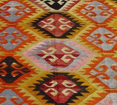 "Nomadic Turkish Kilim Rug Carpet circa 1950 - 69"" x 107"" (176 x 272 CM)"