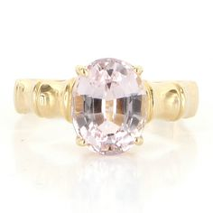 Estate 14 Karat Yellow Gold Kunzite Bamboo Cocktail Ring Fine Jewelry Pre-Owned $469