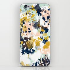 Sloane+-+Abstract+painting+in+modern+fresh+colors+navy,+mint,+blush,+cream,+white,+and+gold+iPhone+&+iPod+Skin+by+CharlotteWinter+-+$15.00