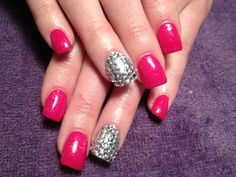 Gel nails, bling, pink and silver.