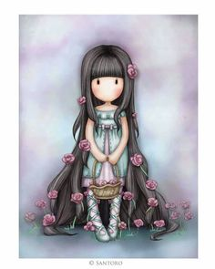 Gorjuss Cards - Rosebud at Santoro London.Send your own personalised message in our Gorjuss card, featuring the enthralling 'Rosie' artwork. Illustration Mignonne, Cute Illustration, Cute Images, Pretty Pictures, Little Doll, Little Girls, Kawaii, Art Mignon, Santoro London