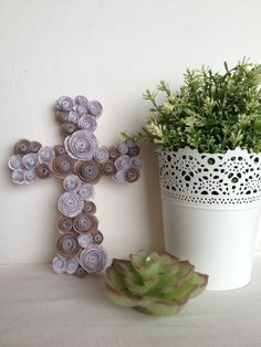 Paper Flower Wood Cross - Burlap & Lace: Easter, New Home Gift.