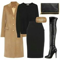 Camel Coat ... pencil skirt, cashmere sweater & .boots