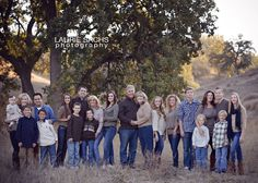 Large Family Photography wearing navy, tan, and brown Large Group Photos, Large Family Pictures, Large Family Portraits, Extended Family Photos, Large Family Poses, Family Portrait Poses, Family Picture Poses, Family Picture Outfits, Fall Family Photos