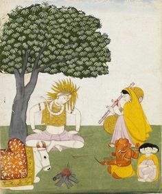 Shiva, Parvati, Karttikeya, Ganesha and the bull Nandi sit on a plain green ground. A fire of logs is burning beside them and a mango tree looms above them. Parvati plays on a vinawith yellow resonators. Place of Origin  Guler, India. Date  ca. 1760