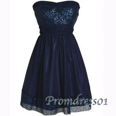 Dark blue prom dress, short bridesmaid dress with sequins, strapless ball gown for teens www.promdress01.c... #coniefox #2016prom