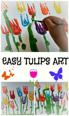 paint tulips with a (plastic) fork