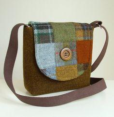 Harris Tweed Bag  Cross Body Satchel  Patchwork by peskycatdesigns, $140.00
