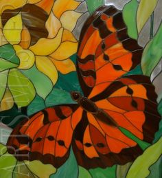 ~ It's a Colorful Life ~ Stained Glass Light, Stained Glass Flowers, Stained Glass Panels, Fused Glass Art, Mosaic Garden Art, Mosaic Art, Mosaic Glass, Mosaics, Butterfly Mosaic
