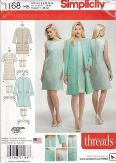 New Sewing Pattern for Dress Coat Ensemble Mod Simplicity Pattern 11 68 Threads MagazineWomen's Misses Size 6 8 10 12 14 UNCUT by LanetzLiving on Etsy