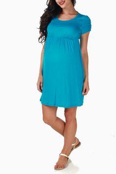 Turquoise-Open-Back-Maternity-Dress