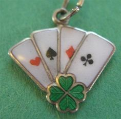 Antique Deco German Silver Enamel Lucky Aces Playing Cards w Clover Charm