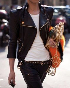 Eye for Detail - Biker Jacket in full glory - monstylepin #fashion #streetstyle #fashiondetail #trend #bikerjacket