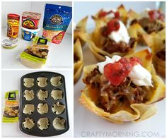 Beef Wonton Taco Cups Wonton wraps Taco seasoning 1 pound ground beef Shredded Cheese Toppings (Salsa, sour cream, guacamole, lettuce, etc.) Start by browning your ground beef and add in some taco seasoning.