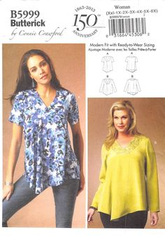 BUTTERICK 5999 - FROM 2013 - UNCUT - MISSES/WOMENS TOP