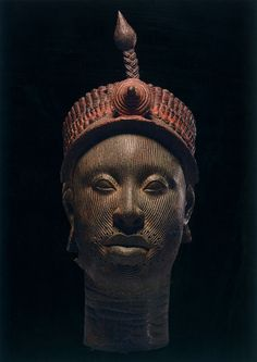 These beautiful images from an exhibit at the British Museum - the Kingdom of Ife: Sculptures from West Africa.  Ife is an ancient Yoruba city in south-western Nigeria.  My concept of African art has been changed by the natural roundness and sensualness of the faces.  They are some of the earliest examples of realism in art, some sculptures dating from before the European Renaissance. Crowned Head, 12th-14th century  copper alloy