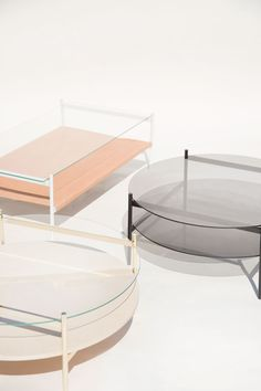 Duotone Coffee Tables. Smoked Glass, Brass, or Leather
