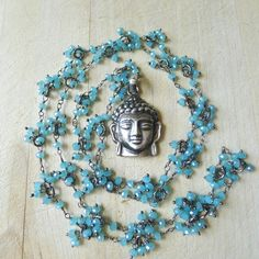 "30"" Blue Chalcedony Beaded Necklace with 925 Silver Buddha Pendant by 137point5"