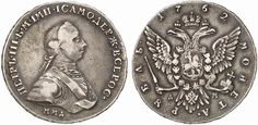 Rouble. Russian Coins, Peter III., 1762. 1762, MMD-DM. Bit 9. R! EF. Starting price 2011: 2.000 USD. Unsold.