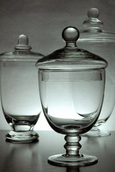 "Great for storing pretty ribbon, beads, or what have you. Set of 3 Glass Apothecary Jars Clear Glass (10-3/8"" - 8"" - 7-1/2"" tall) $19.99 SPECIAL"
