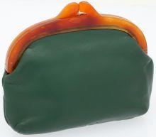 Hermes Green Leather Tortoise Frame Vintage Clutch