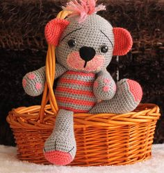 Items similar to Ready to Ship/ Amigurumi Teddy Bear/ Crochet Teddy Bear/ Handmade / Soft Stuffed Toy/ Gift for Girl/ Plushie/ Cuddle Toy/ Birthday Gift on Etsy Black Felt, Gifts For Girls, Grey Stripes, Plushies, Tweety, Cuddling, Birthday Gifts, Handmade Items, Teddy Bear