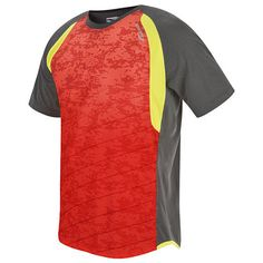 Inferno Short Sleeve  Saucony    Printed ombre front panels with racing lines evoke speed and performance, while ultra-lightweight fabric keeps you dry.  $36  Gender: Men's