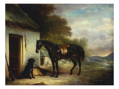 Mr Stuart's Favourite Hunter, Vagabond and His Flatcoated Retriever, Nell by a Cottage Door Giclee Print by John Ferneley, Sr at Art.com