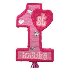 1st birthday pink pull string pinata