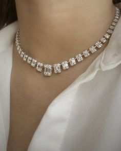 Designer fine jewelry inspired by women for women worldwide. Our dazzling Illusion Emerald Cut Choker is gold featuring graduated emerald-shaped baguette diamond clusters all around, available in white gold. Bridal Jewelry, Beaded Jewelry, Silver Jewelry, Fine Jewelry, Jewelry Necklaces, Silver Ring, Jewelry Party, Costume Jewelry, Silver Earrings