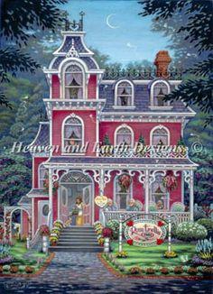 Rose Trellis Inn da Heaven and Earth Designs - Schemi Punto Croce - Ricamo - Casa Cenina