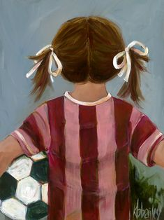 Lil' Soccer Star - Girl by Kristina Bass Bailey Paper Print