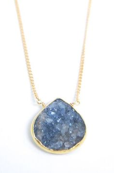 Ho'ola'i necklace blue grey druzy gold necklace by kealohajewelry