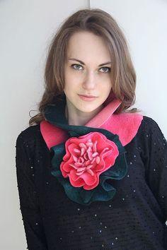 """Купить Горжетка """"Краски лета - ПИОН"""" - цветочный, шарфик валяный, горжетка, 100% шерсть меринос"""